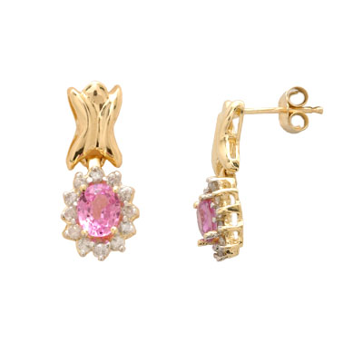 14K Gold Diamond and Pink Sapphire Earrings