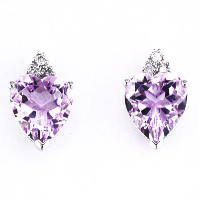 14K White Gold Diamond and Heart Shaped Amethyst Earrings