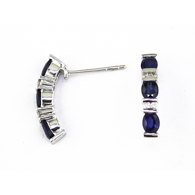 14K Gold Diamond and Sapphire Earring
