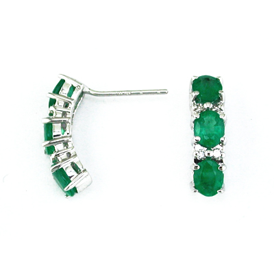 14K Gold Diamond and Three Stone Emerald Earring