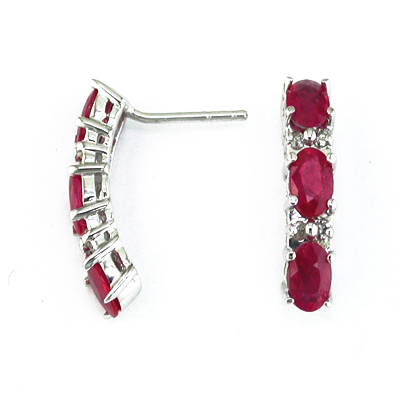 14K Gold Diamond and Three Stone Ruby Earring
