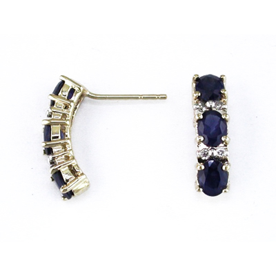 14K Gold Diamond and Three Stone Sapphire Earring