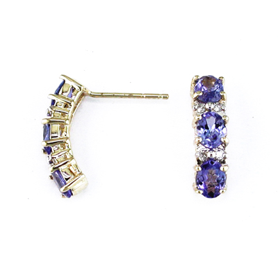 14K Gold Diamond and Three Stone Tanzanite Earring