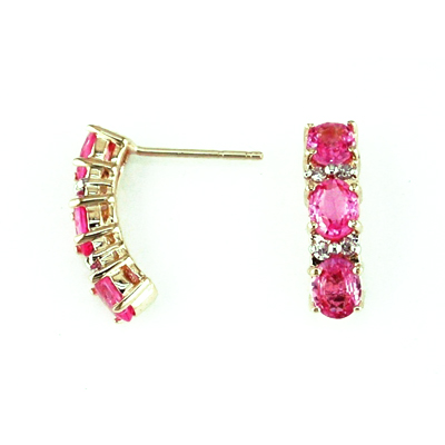 14K Gold Diamond and Three Stone Pink Sapphire Earring