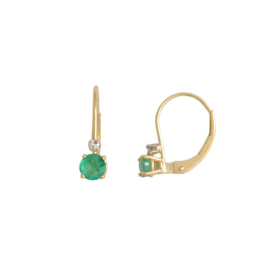 14K Gold Emerald and Diamond Earrings