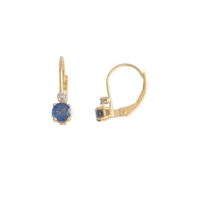 14K Gold Sapphire and Diamond Earrings
