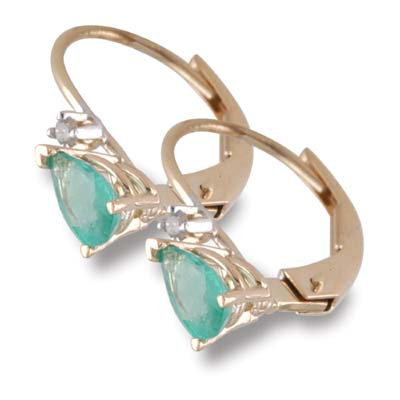 14K Gold Pear Shaped Emerald and Diamond Earrings