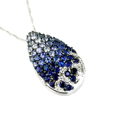 14K White Gold Daimond and Sapphire Necklace