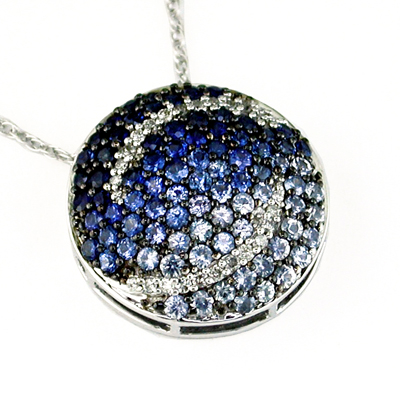 14K White Gold and Diamond Sapphire Necklace