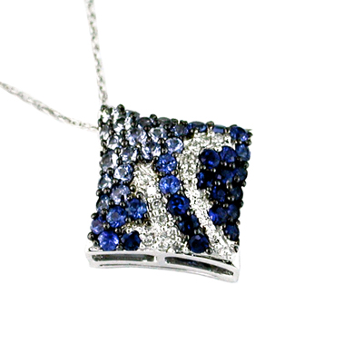 14 White Gold Diamond and Sapphire Necklace