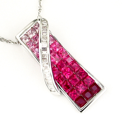14K White Gold Diamond and Pink Sapphire and Ruby Necklace