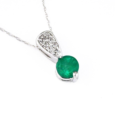 JewelryCastle 31700GN 14K Diamond and Emerald Necklace