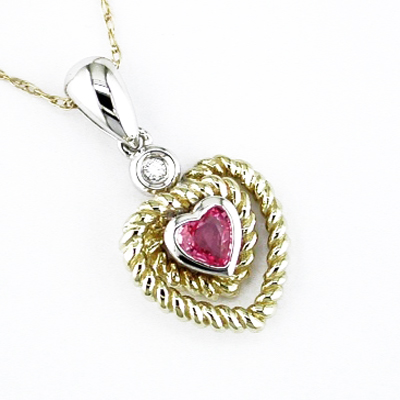 14K Diamond and Pink Sapphire Heart Necklace