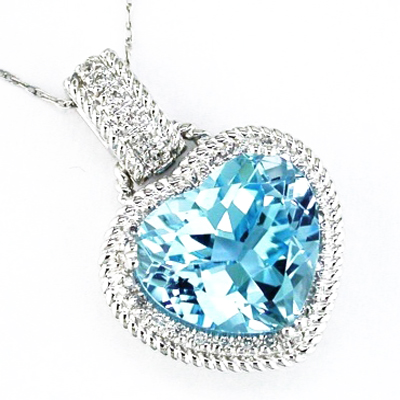 14K White Gold Diamond and Blue Topaz Heart Necklace