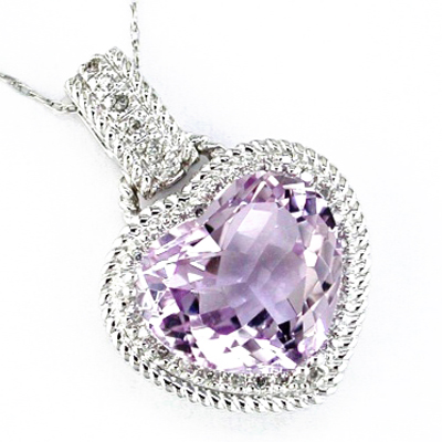 14K White Gold Diamond and Amethyst Heart Necklace
