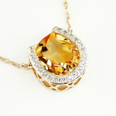 14K Gold  Diamond  Citrine Horseshoe Necklace