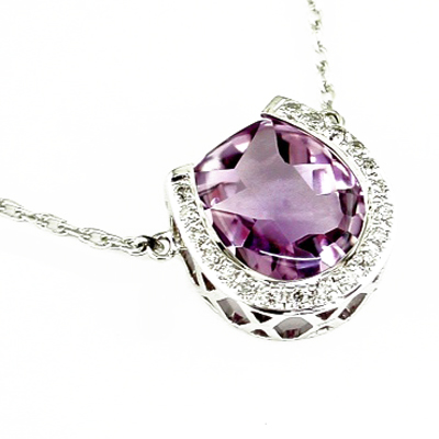 14K White Gold Diamond and Amethyst Horseshoe Necklace