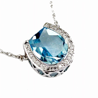 14K White Gold Diamond and Blue Topaz Horeseshoe Necklace