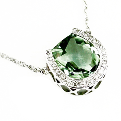 14K White Gold Diamond and Green Amethyst Horseshoe Necklace
