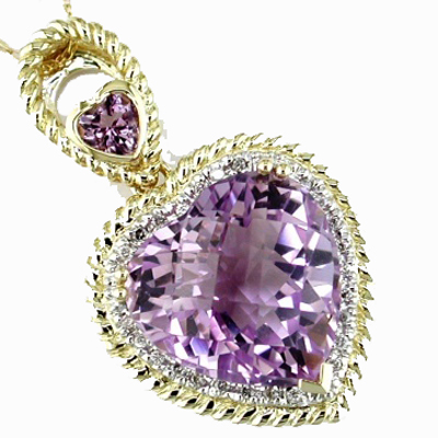 14K Yellow Gold Diamond and Amethyst Heart Necklace