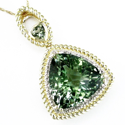 14K Diamond and Green Amethyst Necklace