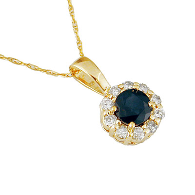 14K gold Diamond and Sapphire Necklace