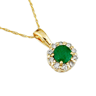 14K Gold Diamond and Emerald Necklace