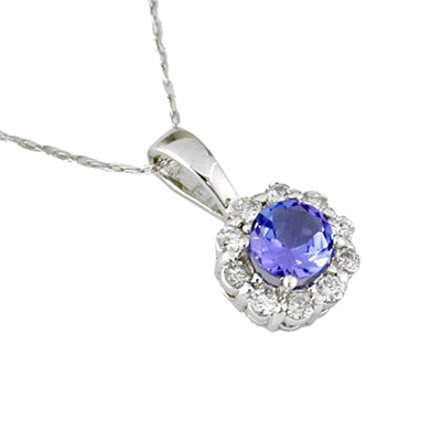14K Gold Diamond and Tanzanite Necklace