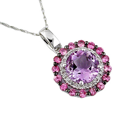 14K White Gold Amethyst Diamond and Pink Sapphire Necklace