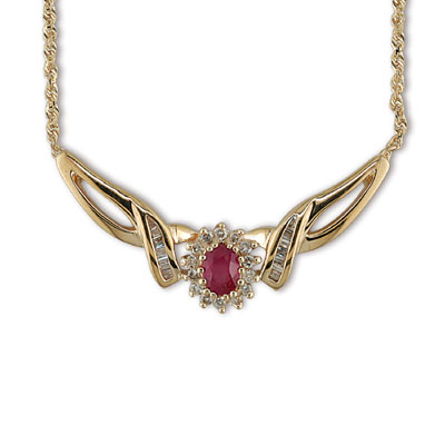 JewelryCastle 3-472-GN 14K Gold Diamond and Ruby Necklace