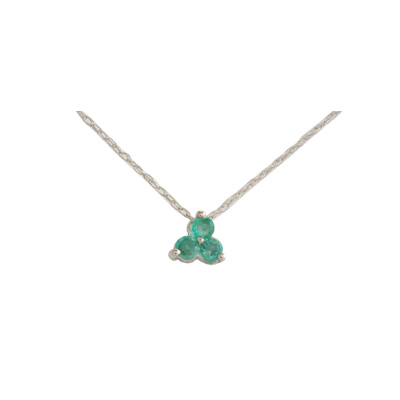 14K White Gold Three Stone Emerald Necklace