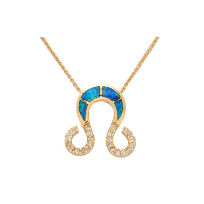 14K Yellow Gold Australian Opal amp; Diamond Necklace