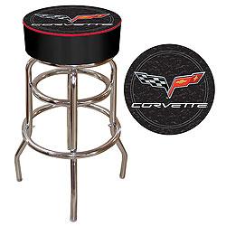 Corvette C6 Padded Bar Stool - Black
