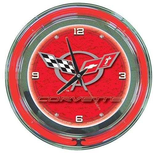 Corvette C5 Neon Clock - 14 Inch Diameter - Red