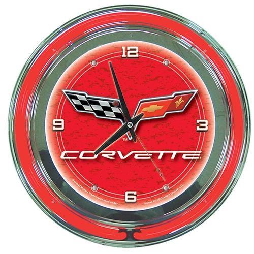 Corvette C6 Neon Clock - 14 Inch Diameter - Red