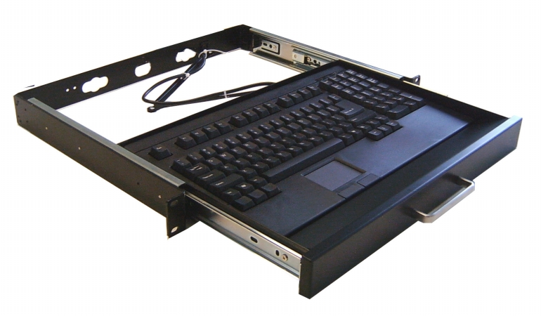 Image of 1U 19in Rackmount drawer with PS/2 Touchpad Keyobard Black