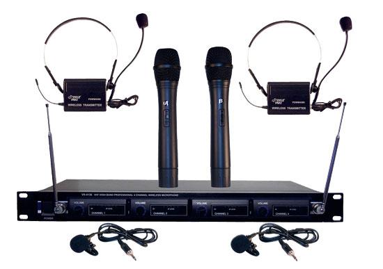 SOUND AROUND/PYLE INDUSTRIES PDWM4300 4 Mic VHF Wireless Microphone System