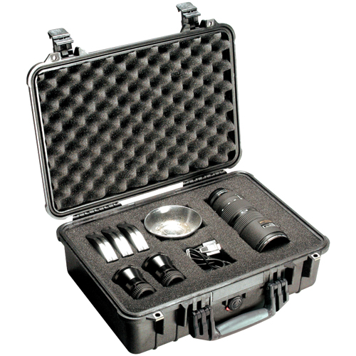 Pelican 1500-004-110 Case with Padded Divider - Model 1500; Dim: 16.75 L x 11.18 W x 6.12 D