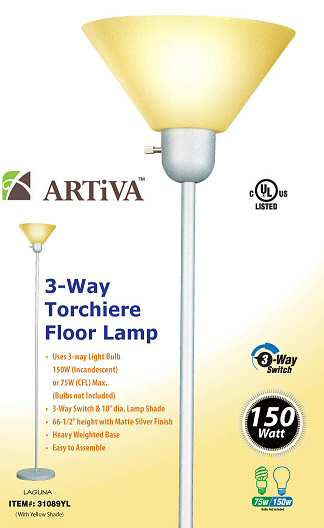 Artiva 31089YL YEL Titan Floor Lamp - Yellow