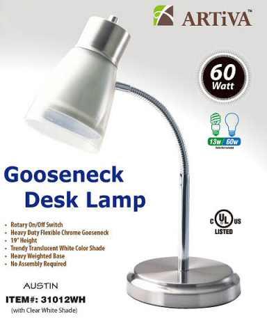 Artiva 31012WH WHT White Gooseneck Lamp - Case of 6