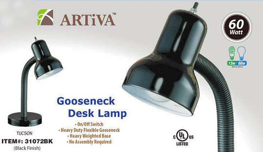 Artiva 31072BK BLK Black Student Desk Lamp - Case of 6