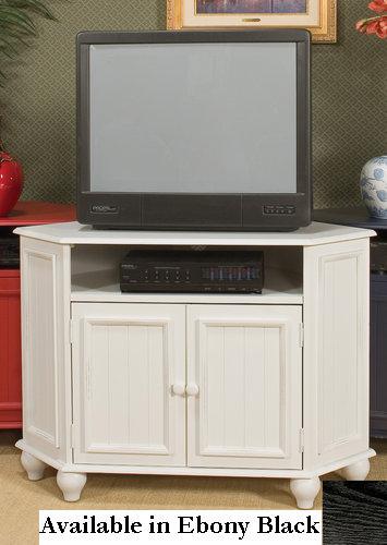 Kush Furniture 1744bk Summerland 44 W Corner Entertainment Cart in Ebony Black Finish