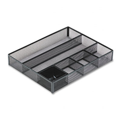 Rolodex 22131 Deep Desk Drawer Organizer Metal Mesh Black