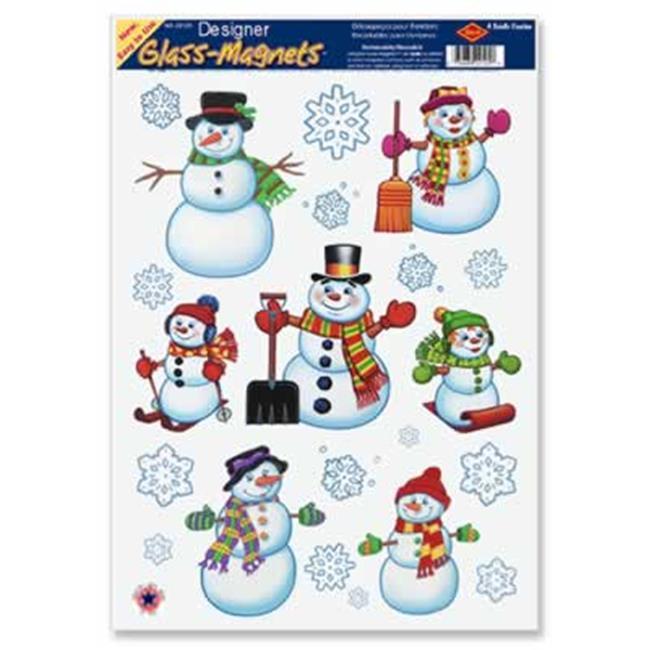 Beistle - 22124 - Snowman-Snowflake Clings- Pack of 12