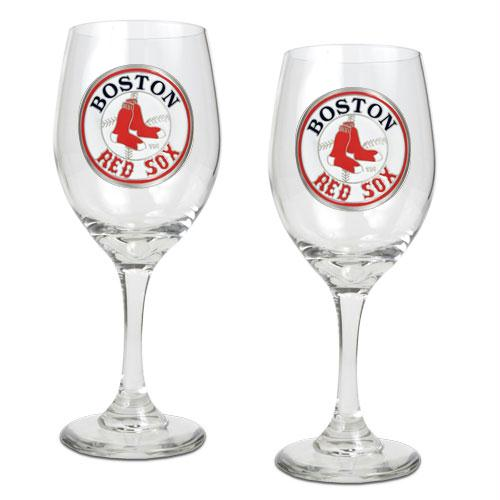 Great American Products Boston Red Sox MLB 2pc Wine Glass Set Primary Logo