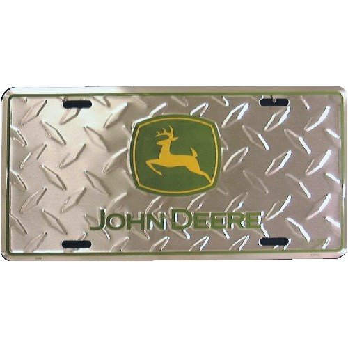 John Deere 62564 Logo 2000 Diamond Silver Green and Yellow Auto Tag