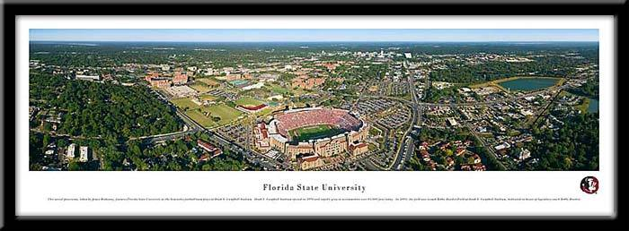 Campus Images FL9851947FPP Wood Florida State Stadium Print Framed - Black