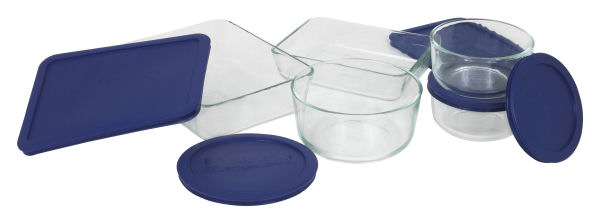 Pyrex 6021224 Storage 10 Piece Set Clear W Lidss - Blue FFF050