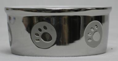5 Inch Paw Print Titanium Dog Dish - Silver  - 6828