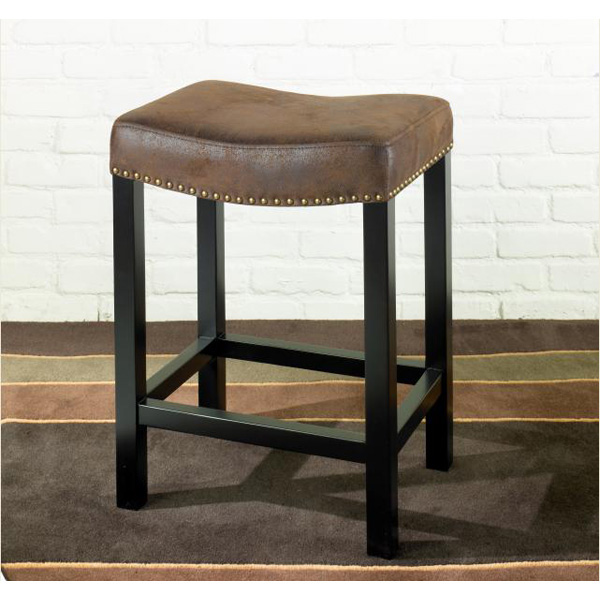 Armen Art Lcmbs013Bawr30 Mbs-013 Tudor Backless 30 Inch Stationary Barstool Covered In A Wrangler Brown Fabric With Nailhead Accents